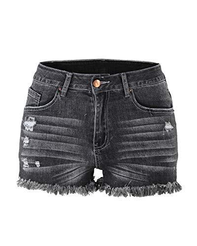 Aodrusa Womens Ripped Denim Cut Off Jeans Shorts Distressed Tassels Bermuda Black US ()