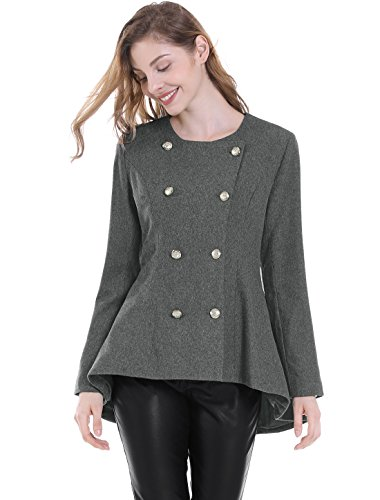 Ruffle Peacoat (Allegra K Women's Inclined Double Breasted Flare Hem Coat XL Grey)