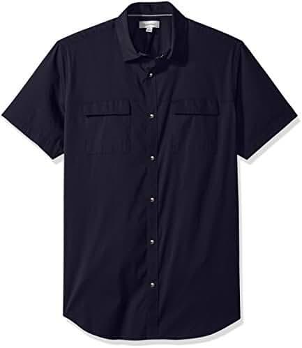 Calvin Klein Men's Short Sleeve Stretch Poplin Military Button Down Shirt