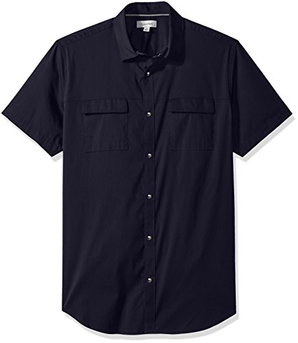 Calvin Klein Men's Short Sleeve Woven Button Down Shirt, Cadet Navy Double Pocket, Medium