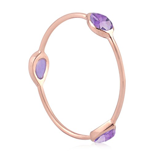 - Mettlle 10K Rose Gold Natural Amethyst Three Stone Band Ring, Size 8