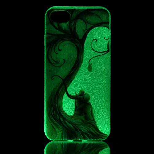 Coque Etui iPhone 7 / 8 , Leiai Nuit romantique Silicone Gel Case Avant et Arrière Intégral Full Protection Cover Transparent TPU Housse Anti-rayures pour Apple iPhone 7 / 8