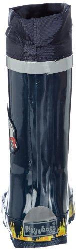Playshoes Feuerwehr aus Naturkautschuk, mit Reflektor 188590 Jungen Gummistiefel Blau (original 900)