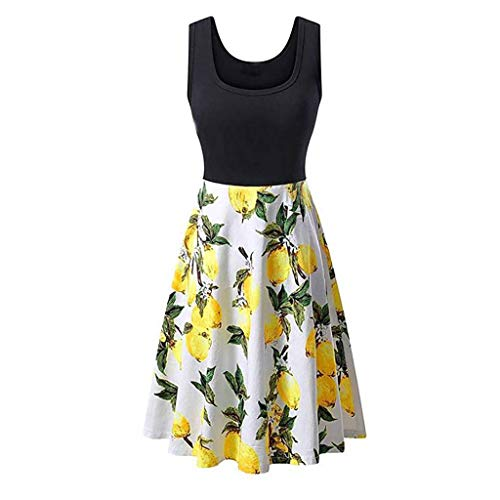 Women Vintage Scoop Neck Midi Dress Sleeveless A-line Cocktail Party Tank Dress Beach Casual Flared Floral Tank Dress ()