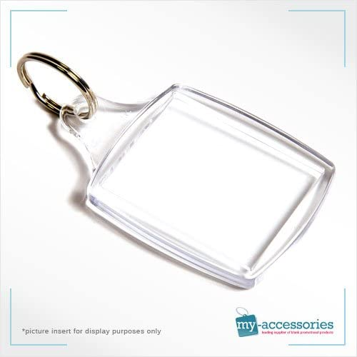 PACK OF 6 x CLEAR ACRYLIC PLASTIC BLANK KEYRINGS 45mm x 35mm INSERT PHOTO
