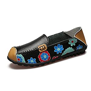 KEESKY Womens Slip-On Flats Casual Shoes - Floral Print Leather Driving Loafers