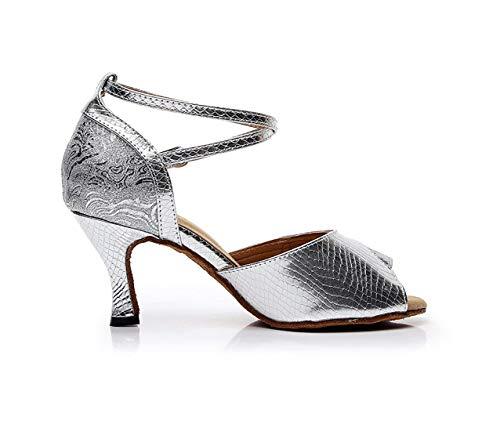 5cm 5cm 5cm a Black 7 Moda Latina Fatti Sandali Heel Heel Heel 7 Salsa Dimensione alla ZHRUI Latino Sintetica UK da Colore 8 Heel Black Donna da Danza Mano con p4PWqUw