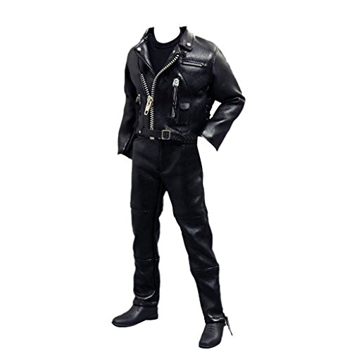 MagiDeal 1/6 Male Riders Clothes Black Leather Jacket Locomotive Suit fit 12″ Hot Toys Dragon Sideshow Action Figrues