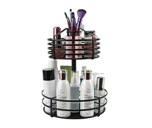 - PAG 2-Tier Makeup Organizer Cosmetic Storage Case and Display Stand Multi-Function Lazy Susan Spice Rack, 360 Degree Rotation, Black