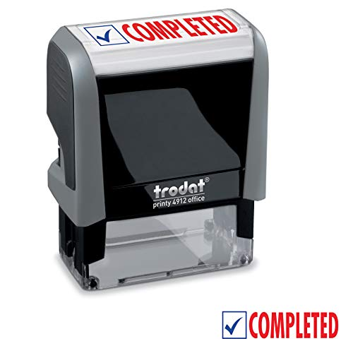 Completed Trodat Printy 4912 Self-Inking Two Color Stock Message Stamp