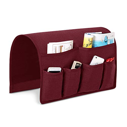 Joywell Sofa Armrest Pocket Organizer, Couch Arm Chair Caddy with 6 Pockets for Magazine, Books, TV Remote Control, Cell Phone, iPad (Wine)