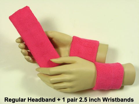 COUVER Pink Breast Cancer Awareness Sweat Athletic Sport Bright Pink Headband & Youth Wristband ()
