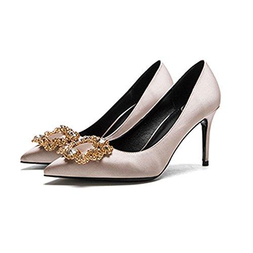 cn36 Talon Diamant Simples Champagne Taille 8cm Bouche Couleur Talons Pointu Chaussures Faux couleur 4 Femme Pu Profonde Amende Hauts Soie Sunny uk4 La F338 Peu Eu36 Mariage RnvvF