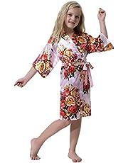 Hawiton Girls Satin Silk Floral Print Robes Flower Girl Wedding Party Kimono Bathrobe