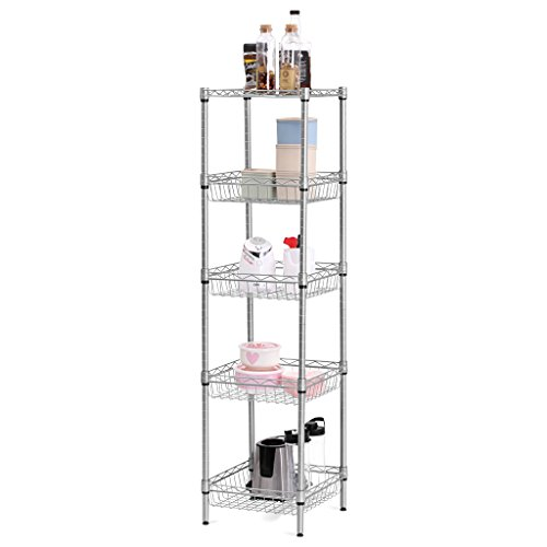 LANGRIA 5-Tier Wire Shelving Unit with Baskets, Storage Organization Utility Rack for Home Kitchen Living Room Bedroom Bathroom Laundry Office, 165 lbs Capacity, Silver (Laundry Basket Storage Shelves)