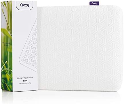 Qozy Ultra Thin Memory Foam Pillow for Sleeping~2 Inches High, Infused with Cooling Particles - Flat Design for Neck Relief