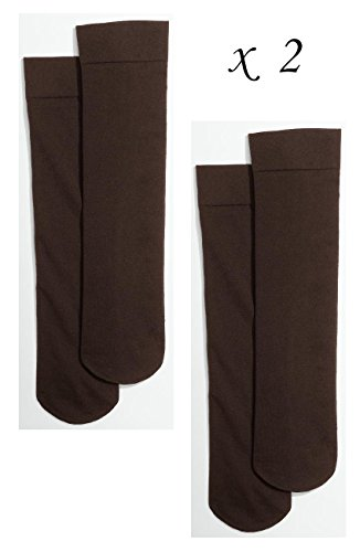 2 Pairs Of Womens Talbots Brown Microfiber Boot Trouser Dress Socks   Brown