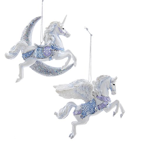 frosted kingdom white plush glittered unicorn ornament kurt adler frosted kingdom unicornpegasus ornament set of 2 c8904 - Unicorn Christmas Decorations