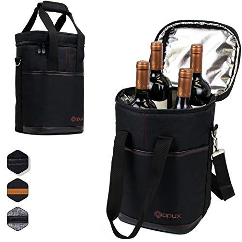 (Premium Insulated 4 Bottle Wine Carrier Tote Bag | Wine Travel Bag with Shoulder Strap and Padded Protection | Wine Cooler Bag (Black))