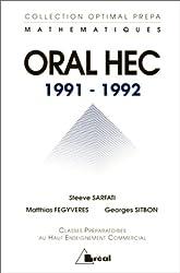 Oral HEC 1991-1992 : Mathématiques, option géné, option éco, classes préparatoires au haut enseignement commercial