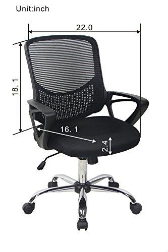 Bonum Black Mid Back Mesh Fabric Swivel Office Chair