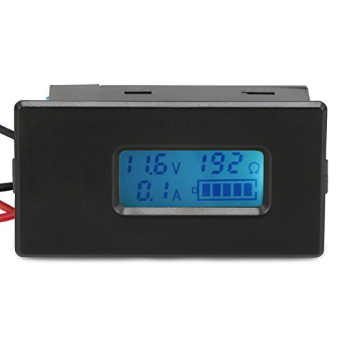 DROK Digital Battery Charge Discharge Tester Monitor LCD Display Battery Voltage Current Capacity Resistance Meter Gauge Panel for Phone, Power Bank, 18350、18650、26650 ithium Li-ion (Bank Battery Monitor)
