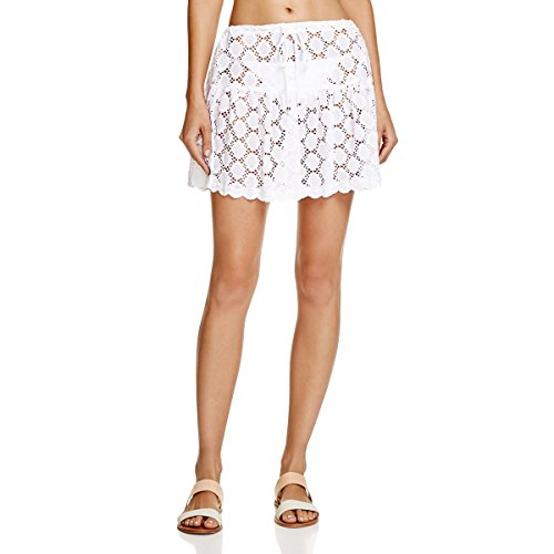 J. VALDI Womens Eyelet Lace Mini Skirt White M (Eyelet Mini Skirt)