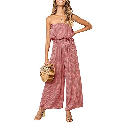 Women's Elegant Jumpsuits Rompers Tube Top Strapless Wide Leg Pant One Piece Clubwear with Belt Red S