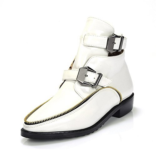 M AmoonyFashionWomens Low White Leather Winkle Patent Solid 5 US Closed B PU Toe Boots with Heels 5 Pinker Round FxTBwFqg