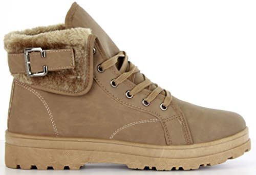 Ladies Boots Womens Shoes Military High Ankle Lace Up Buckle Fur Lined Winter Khaki ef9Q8c