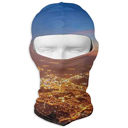 Xuforget Landscape City Lights at Night Time Twilight Skyline Panoramic View Men's & Women's Balaclavas Full Face Mask Hood White