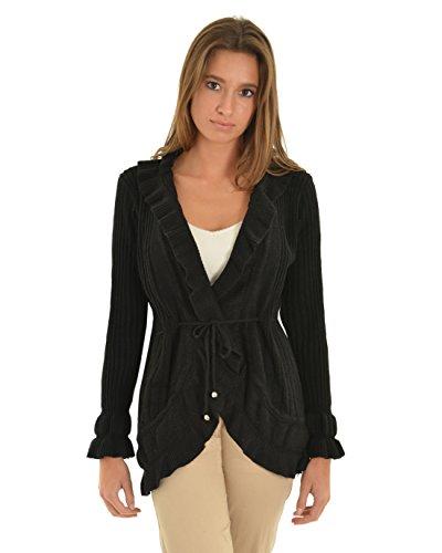 Womens Black Cardigan Sweater High Low Ribbed Knit Sweater Tie Belt Long Sleeve Sizes: Medium