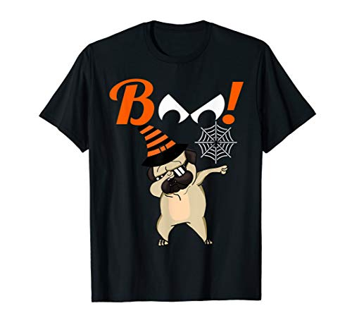 (Mens Boo Dabbing Halloween TShirt Pug Witch Costume Party)
