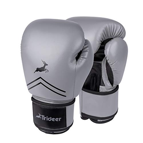 Trideer Pro Grade Boxing Gloves, Kickboxing Bagwork Gel Sparring Training Gloves, Muay Thai Style Punching Bag Mitts, Fight Gloves Men & Women (Gray & Black, 14 ()