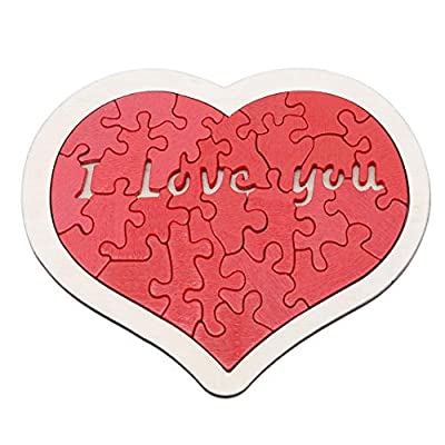 Guoshang Wooden Puzzle Love Shape i Love You Jiasaws Puzzle Children Educational Learning Toy Gift for Birthday Valentine's Day Present: Arts, Crafts & Sewing