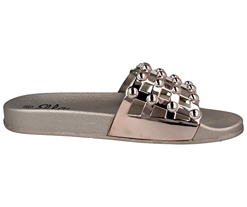 Cage Rose Fashion On 8 Slider 3 Flat Slip Mule Sandali Taglia Metallic Chunky Open Toe Ladies EXZYawqX