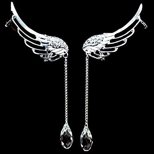 A Pair Full Rhinestone Angell Wing Tassel Ear Cuff Screw Clip Earrings (Screw Clip Earrings)