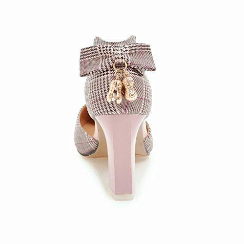 Baret Dames Geruite Bogen Elegantie Puntschoen Avondfeest Hakken Sandalen Roze