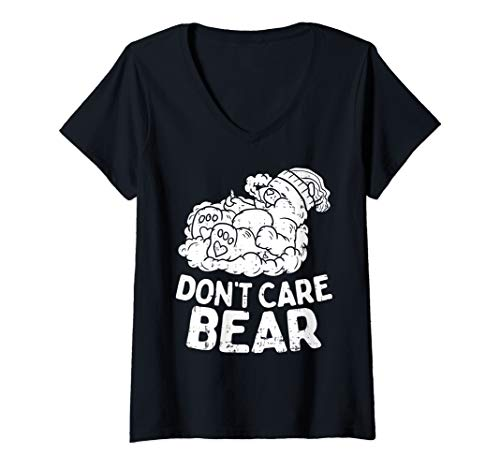 Womens Bear Smoking Weed Funny Weed 420 Cannabis Marijuana Gift V-Neck T-Shirt (Bong Bear Don T Care T Shirt)