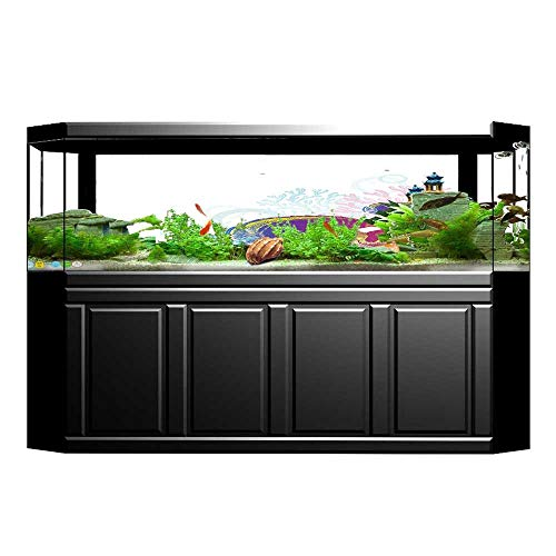 JiahongPan Background Fish Tank Sticker Squids Surrounded by Algae Swimming in The Pixel Featured Sea Graphic Aquarium Sticker Wallpaper Decoration L23.6 x H15.7