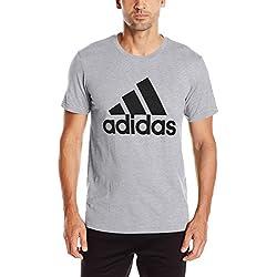 adidas Men's Badge of Sport Graphic Tee, Medium Grey Heather/Black, Large