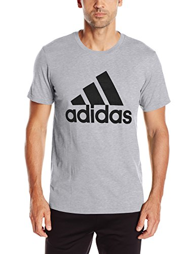 adidas Men's Badge of Sport Graphic Tee, Medium Grey Heather/Black, Large