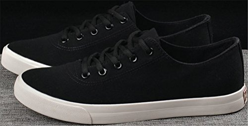 Satuki Zapatos De Lona Para Hombres, Casual Low Top Classic Lace Up Deportes Suaves Atléticos Flat Light Sports Zapatillas De Deporte Negro