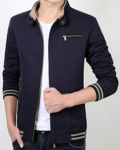 Mens Windbreaker Blue Retro Military with Collar Coats Jacket AnyuA Stand BOqwq