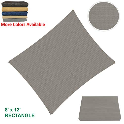 Sun Shade Sail Rectangular Outdoor with Durable Thick Air-Permeable UV Block Canopy Fabric Material for Garden, Patio, Swimming Pool, Backyard, Driveway, Fence, Deck, Carport (8' X 12', - Fence Canvas
