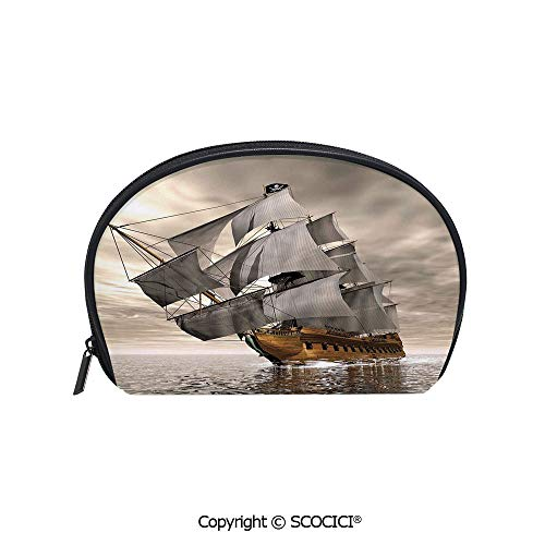 SCOCICI Printed Small Size Storage Makeup Bag 3D Style Pirate Ship Sea Historic Vessel Cloudy Sky Voyage Exploration Theme for Women Girl Ladies ()