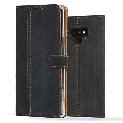 - Samsung Galaxy Note 9 Case, Luxury Genuine Leather Wallet with Viewing Stand and Card Slots, Flip Cover Gift Boxed and Handmade in Europe by Snakehive for Samsung Galaxy Note 9 - Black and Navy