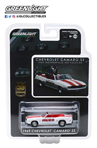 1969 Chevrolet Camaro SS Convertible Pace Car White Mario Andretti 50th Anniv. Indianapolis 500 Champion 1/64 Diecast Model Car by Greenlight 30082