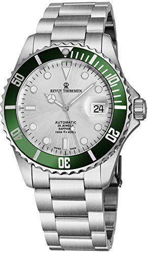 Revue Thommen Mens Automatic Diver Watch - 42mm Analog Silver Face Diving Watch with Luminous Hands, Date and Sapphire Crystal - Stainless Steel Metal Band Swiss Made Waterproof Dive Watch 17571.2124