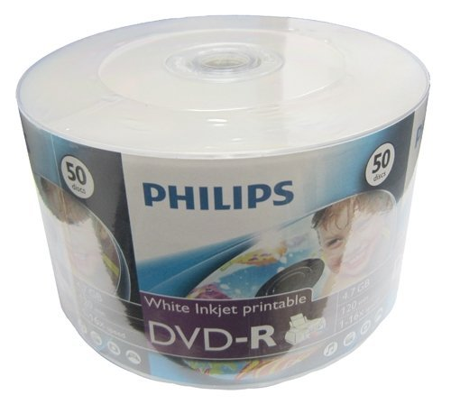 Philips 400 16X DVD-R 4.7GB White Inkjet Hub Printable (Shrink Wrap)